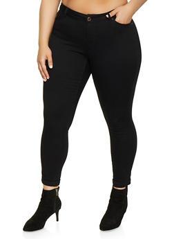 Plus Size WAX Fixed Cuff Stretch Jeans - 1870071610046