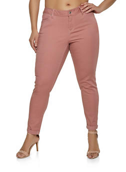 Plus Size WAX Fixed Cuff Stretch Jeans - 1870071610046