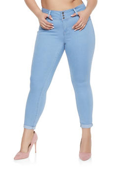 Plus Size WAX 3 Button Push Up Jeans - Blue - Size 14 - 1870071610084