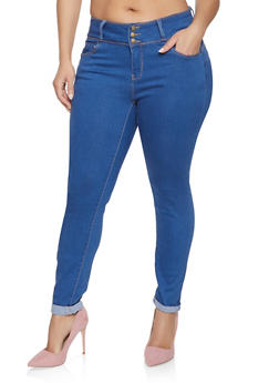 Plus Size WAX 3 Button Push Up Jeans - MEDIUM WASH - 1870071610084