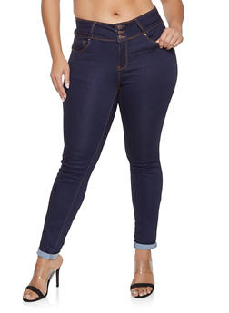 Plus Size WAX 3 Button Push Up Jeans - 1870071610084