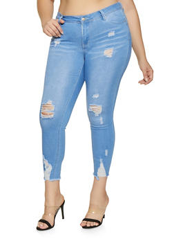 Plus Size WAX Push Up Raw Hem Skinny Jeans - 1870071610090