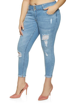 dd5ed64cdffe Plus Size WAX Distressed Push Up Jeans - 1870071610118