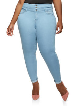 Plus Size WAX Push Up Skinny Jeans - 1870071610119