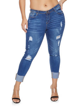 Plus Size WAX Distressed Push Up Skinny Jeans - Blue - Size 14 - 1870071610121