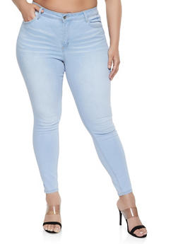 Plus Size WAX High Rise Whiskered Jeans - 1870071610123