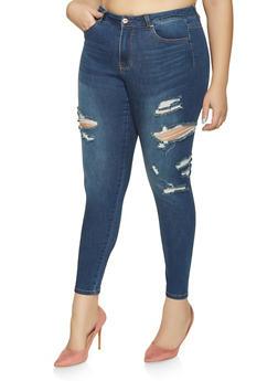 Plus Size WAX Skinny Jeans - 1870071610127