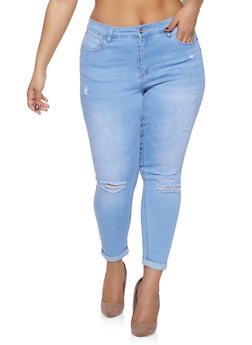 Plus Size WAX Roll Cuff Push Up Jeans - 1870071610128