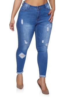 Plus Size WAX Distressed Skinny Jeans - 1870071610129