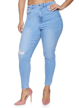 Plus Size WAX High Waisted Push Up Jeans - 1870071610130