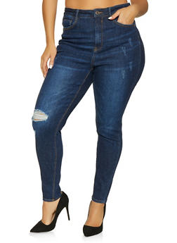 Plus Size WAX High Waisted Push Up Jeans - Blue - Size 14 - 1870071610130
