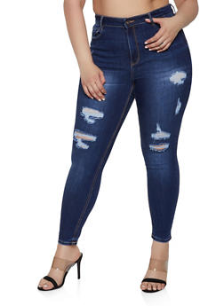 Plus Size WAX Destroyed High Waisted Jeans - 1870071610133