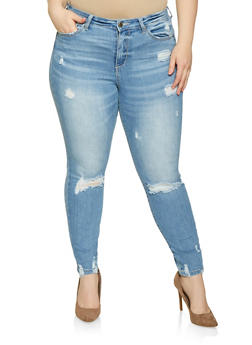 Plus Size WAX Distressed High Waisted Jeans - 1870071610134