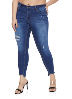 Plus Size WAX Distressed Step Hem Jeans - 1870071610138