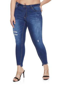 3c6d189b93a Plus Size WAX Distressed Step Hem Jeans - 1870071610138