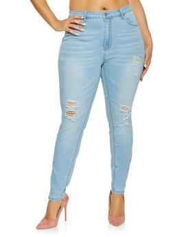 Plus Size WAX High Waisted Distressed Jeans - 1870071610139