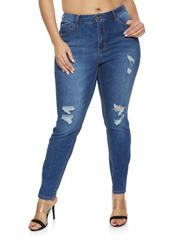 Plus Size WAX High Waisted Distressed Jeans - Blue - Size 16 - 1870071610139