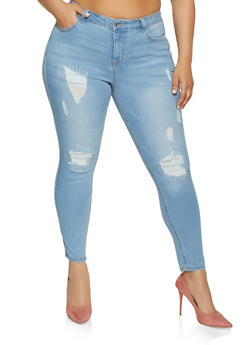 Plus Size WAX Rip and Repair Skinny Jeans - Blue - Size 18 - 1870071610141