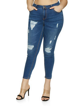 Plus Size WAX Rip and Repair Skinny Jeans - 1870071610141