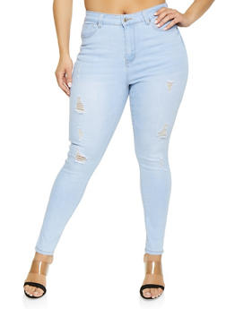 Plus Size WAX Whisker Wash Distressed Jeans - Blue - Size 16 - 1870071610146
