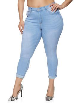 Plus Size WAX Cuffed Jeans - 1870071610239