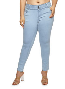 Plus Size WAX 3 Button Push Up Jeans - 1870071610340