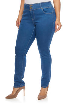 Plus Size WAX 3 Button Push Up Jeans - 1870071610340