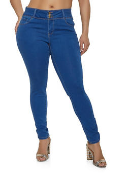 Plus Size WAX 3 Button Skinny Jeans - Blue - Size 16 - 1870071610400