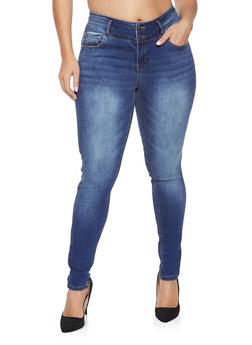 Plus Size WAX Double Button Push Up Skinny Jeans - 1870071610665