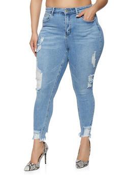 Plus Size WAX Distressed Frayed Hem Skinny Jeans - 1870071610881