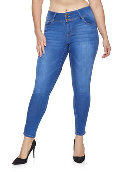 Plus Size WAX 3 Button Push Up Skinny Jeans - 1870071610979
