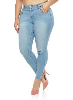 Plus Size WAX 2 Button Push Up Jeans - 1870071611265