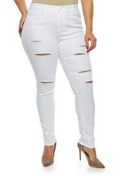 Plus Size WAX Frayed Skinny Jeans - 1870071611912