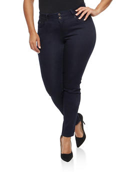 Plus Size WAX 2 Button Skinny Jeans - 1870071611948
