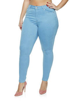 Plus Size WAX Basic Push Up Skinny Jeans - 1870071612102