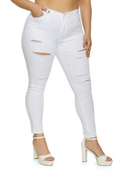 Plus Size WAX Distressed Skinny Jeans - 1870071612710