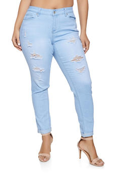 Plus Size WAX Distressed Fixed Cuff Push Up Jeans - 1870071613301