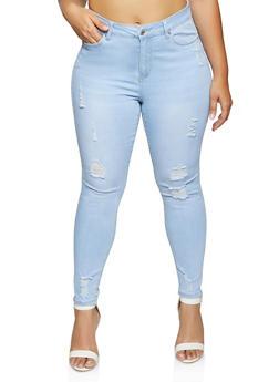 Plus Size WAX Distressed Skinny Jeans - 1870071614479
