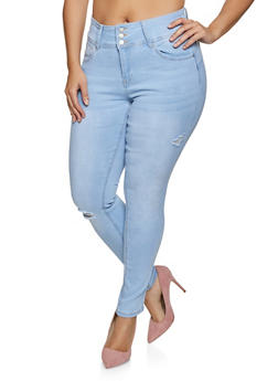 Plus Size WAX Three Button Whiskered Jeans - 1870071615601