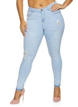Plus Size WAX Distressed Skinny Jeans - 1870071619004