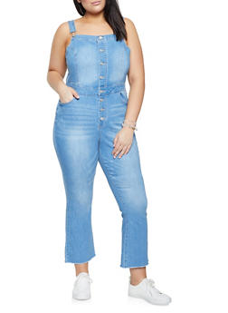 Plus Size WAX Button Front Distressed Overalls - 1870071619018