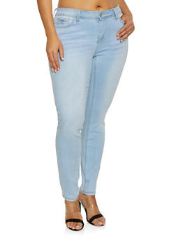 Plus Size WAX Whisker Wash Jeans - 1870071619054