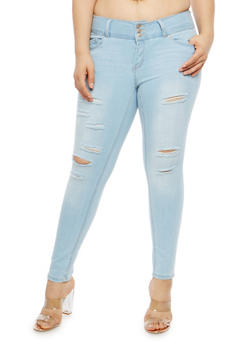 Plus Size WAX 3 Button Distressed Jeans - 1870071619067