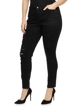 Plus Size WAX Distressed Skinny Jeans - 1870071619071