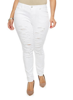 Plus Size WAX Distressed Skinny Jeans - 1870071619071