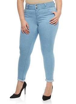 Plus Size WAX Solid Push Up Jeans - 1870071619084