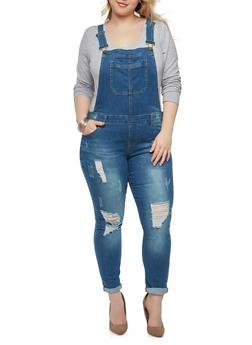 Plus Size WAX Jean Distressed Overalls - MEDIUM WASH - 1870071619092