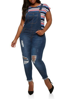 Plus Size WAX Jean Distressed Overalls - 1870071619092