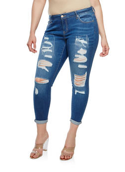 Plus Size WAX Destroyed Denim Jeans - 1870071619101