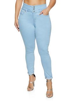 Plus Size WAX Three Button Roll Cuff Jeans - 1870071619119